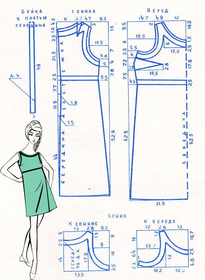 Выкройка платья без рукавов фото